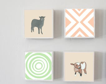 boho gender neutral nursery - farm barnyard animals nursery - 4 set-5x5 art blocks- gender neutral baby- geometric art  nursery decor