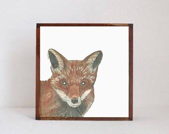 woodland nursery art- red fox art print- forest animals- nursery woodland art- animal print- baby animals prints - fox decor- redtilestudio
