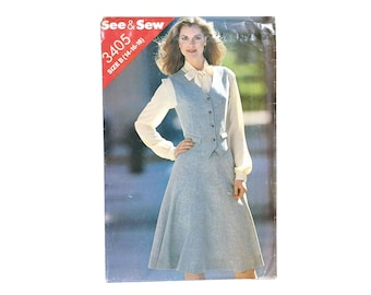 Vintage Vest and Skirt Sewing Pattern Butterick 3405 See & Sew Size B 14 16 18 UNCUT Bust 36 38 40