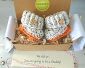 October, November, Fall, Pregnancy Announcement, Going to be a Daddy, Custom Message, Grandparent Reveal, BOOTIES IN A BOX®, Baby Booties