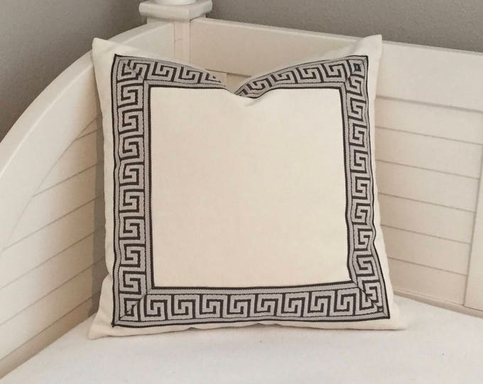 Ivory Velvet with Pewter Gray Greek Key Trim Designer Pillow Cover - Choice of Trim Color - Square and Euro Sizes