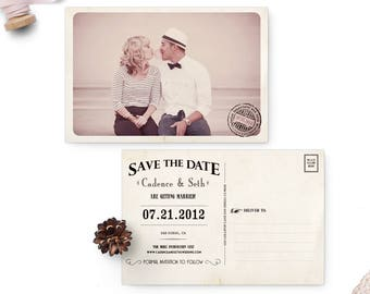 "Wedding save the date post card, Save the Date Vintage, 4x6 - the ""Cadence"""