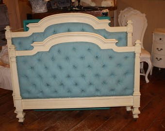 Antique Painted Bed Full Size Headboard Foot Board Tufted Fabric Blue Yellow Annie Sloan Chalk Paint Provence & Cream Shabby Cottage Chic
