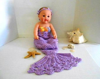 Adorable  Baby Girl Mermaid Outfit hand crochet by Kam