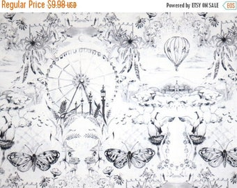 ON SALE Shades of Gray on White It's Time to Fly Toile Print Pure Cotton Fabric--By the Yard