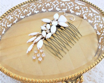 SALE, 50% OFF, Wedding Hair Comb, Bridal Hair Comb, Wedding Flower Headpiece, Bridal Hair, Jeweled Hair Comb, OOAK Vintage