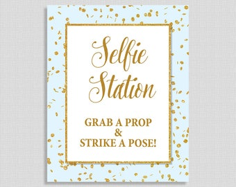 Selfie Station Table Sign, Blue & Gold Glitter Confetti Shower Sign, Wedding, Baby Shower Sign, 2 Sizes, DIY Printable, INSTANT DOWNLOAD