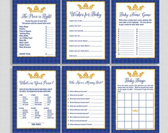 Royal Baby Shower Games Package, Six Baby Shower Games Bundle, Prince Royal Blue and Gold, Baby Boy, INSTANT PRINTABLE