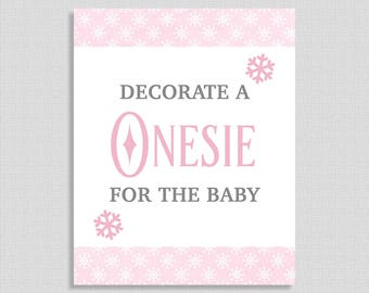 Winter Decorate a Onesie for the Baby Sign, Pink & Gray Snowflake Shower Sign, Baby Girl Shower Sign,  INSTANT PRINTABLE