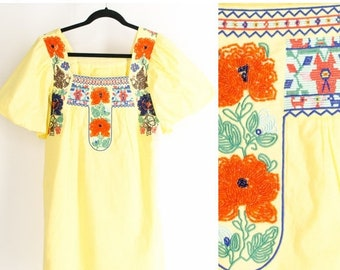 MOVING SALE Vintage Ethnic Yellow Mini Dress Embroidered Beaded Cotton Shift Dress Folk Dress Festival Dress Hippie Dress Bohemian Dress Sma