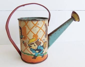 Vintage Ohio Art Toy Watering Can, Tin Lithographed, Beatrice Benjamin Artist Signed