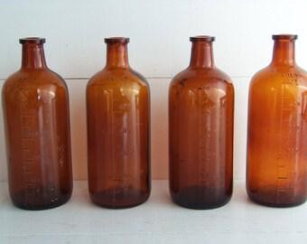 Vintage Brown Apothecary Bottles, Amber Bottles