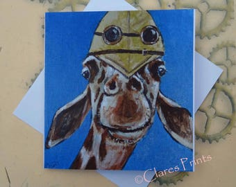 Explorer Giraffe Art Greeting Card From my Original Painting