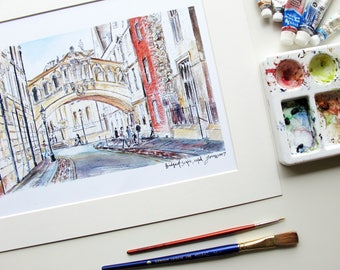 Bridge of Sighs, Oxford UK - Print from an original watercolor painting