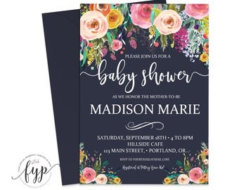Printable Baby Shower Invite, Girl Baby Shower Invitations, Floral Baby Shower Invitation, Baby Shower Invitation Girl, Navy Baby Shower