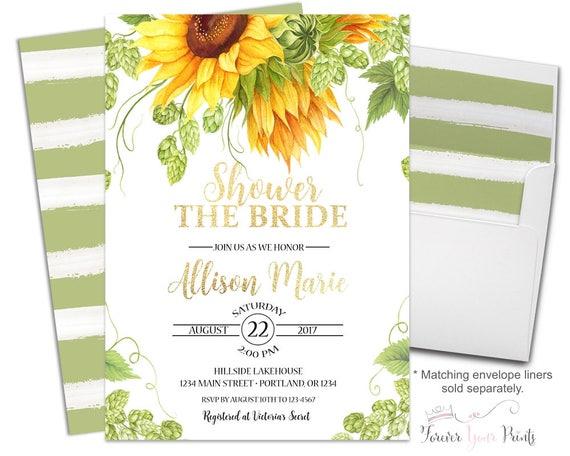 Sunflower Bridal Shower Invitation Rustic Sunflower Bridal
