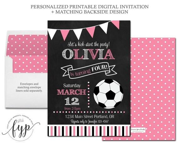Soccer Birthday Invitation Girls Birthday Party Invitation – Girls Birthday Party Invitation