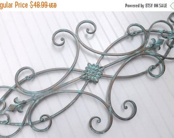 ON SALE Wrought Iron Wall Decor / Indoor /Outdoor / Patina / Fleur de Lis / Shabby Chic Decor / Bedroom Wall Decor / Kitchen Decor