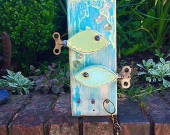 Key Jewelry Holder Hook Rack Vintage Clock Key Fish Beach Lake House Art Block Wall Decor by CastawaysHall- Ready to Ship