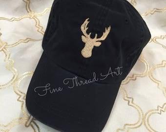 LADIES Buck Deer Baseball Cap Hat with FABRIC strap