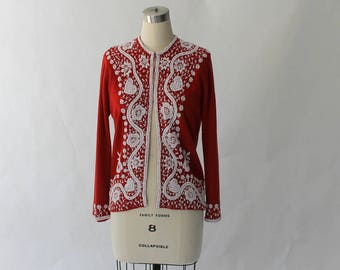 1950s Beaded Cashmere Cardigan Sweater // 50s Vintage Dark Red and White Embellished Knit Top // Medium