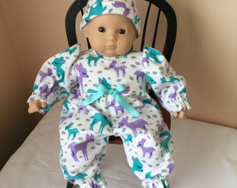 American Girl Bitty Baby Doll Flannel Sleeper and Cap set