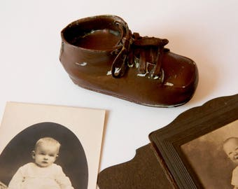 Leather Baby Shoe. Vintage Nursery Decor. Child's Bedroom Decoration. Photography Prop. Baby Shower Display. Rustic Farmhouse Chic.