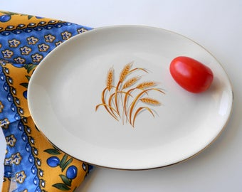 Homer Laughlin Golden Wheat Serving Platter. Replacement China. Farmhouse Wall Decor.