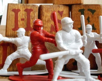 Baseball & Blocks Randtoy Baseball Players Guys Batter Pitcher Sports Toy Vintage Wood Building Blocks Child's Room Decor