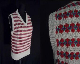 NERDY Grey Striped Knit Vintage 1980's NOS Women's Sweater Vest M