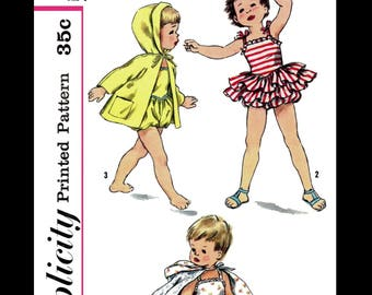 SIMPLICITY 2094 PLAYSUIT Ruffled Romper Swimsuit Bathing Suit Sewing Pattern Kids Child Girls Beach Sunsuit Play Suit *REPRODUCTION* Size 1