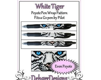 Peyote Beading Pattern (Pen Wrap/Cover)-White Tiger
