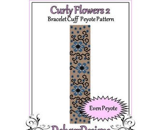 Bead Pattern Peyote(Bracelet Cuff)-Curly Flowers 2