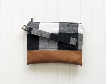 FALL COLLECTION Black and White Plaid Mommy Clutch - Wallet Clutch - Small handbag - Black Wristlet - Wallet Clutch