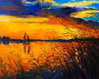 Sunset over water, Bury Lake, Gift for him or Gift for her, Anniversary Gift. Original Oil painting, Romantic Painting. Home décor Wall art.
