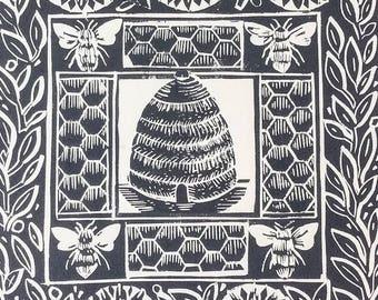 The Bee Hive original Lino Cut