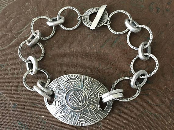 Silver Chain Bracelet, Star Bracelet, Hand Forged Jewelry