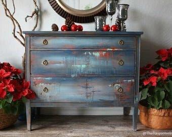 Bohemian Hand Painted Dresser In Navy Blue and a Metallic Wax Farmhouse Decor
