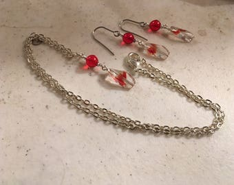 Red Necklace - Jewelry Set - Earrings - Silver Jewellery - Pendant - Chain