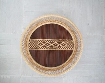 Boho wall basket/woven basket/ decorative tray