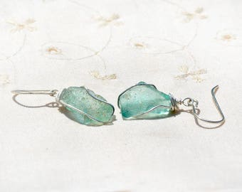 Small Aquamarine Roman Silver Glass Earrings Silver Earrings Silver Jewelry Roman Glass Jewelry Archaeology Israeli Earrings Free Shipping