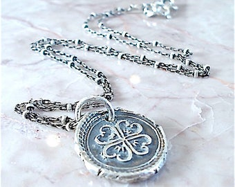 Wax Seal Necklace, SHAMROCK Wax Seal Jewelry, Good LUCK Charm, Talisman, Four Leaf Clover, Erin Go Bragh ~  IRISH Gift,  Sterling Jewellery