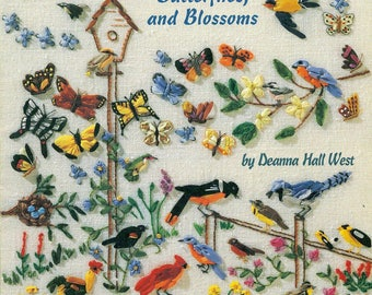 An Encyclopedia of Ribbon Embroidery BIRDS, BUTTERFLIES and BLOSSOMS American School of Needlework No. 3408 Deanna Hall West
