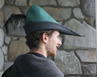 Robin Hood/Medieval Peasant Hat with Feather, Green Cotton Canvas Lined with Wool: The Ashiepattle