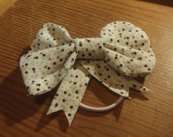 White and Brown Polkadot Hair Bow Accessory Hair Elastic Tie Ponytail Holder