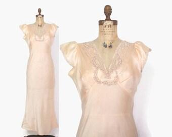 Vintage 40s Silk NIGHTGOWN / 1940s Pale Peach Lace Trim Full Length Bias Cut Slip Dress M