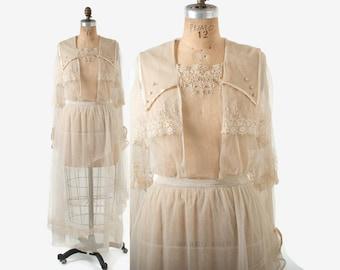 Vintage Edwardian LACE DRESS / 1910s Ivory Net & Crochet Edwardian Wedding GOWN Tea Dress M