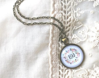 BIRTHDAY SALE Read Pendant Necklace - Book Lovers Jewelry - Read Charm - Book Club Gift - Word Jewelry - Teacher Gift - Quote Necklace - Boo
