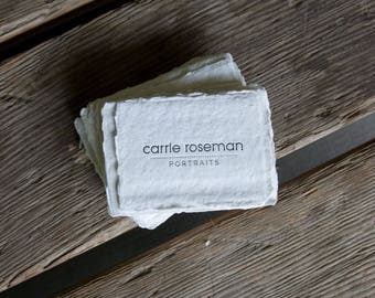 Handmade Paper business cards, or calling cards (letterpress printed in 1 color) on handmade paper, set of 150. eco friendly