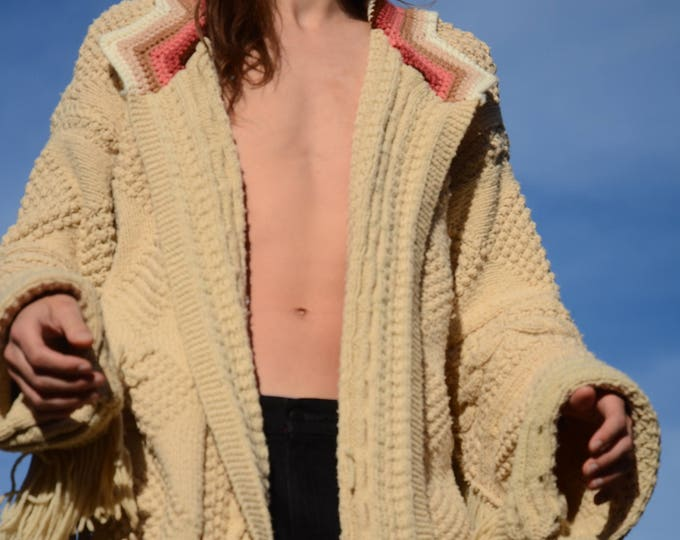 Knit Sweater Robe Cables Popcorn and Fringe XL